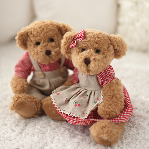 Independent 28cm 2 Pcs/pair Lovely Mini Couple Teddy Bear With Cloth Stuffed & Plush Toy Doll Soft Animal Dolls For Kids Birthday&christmas Terrific Value