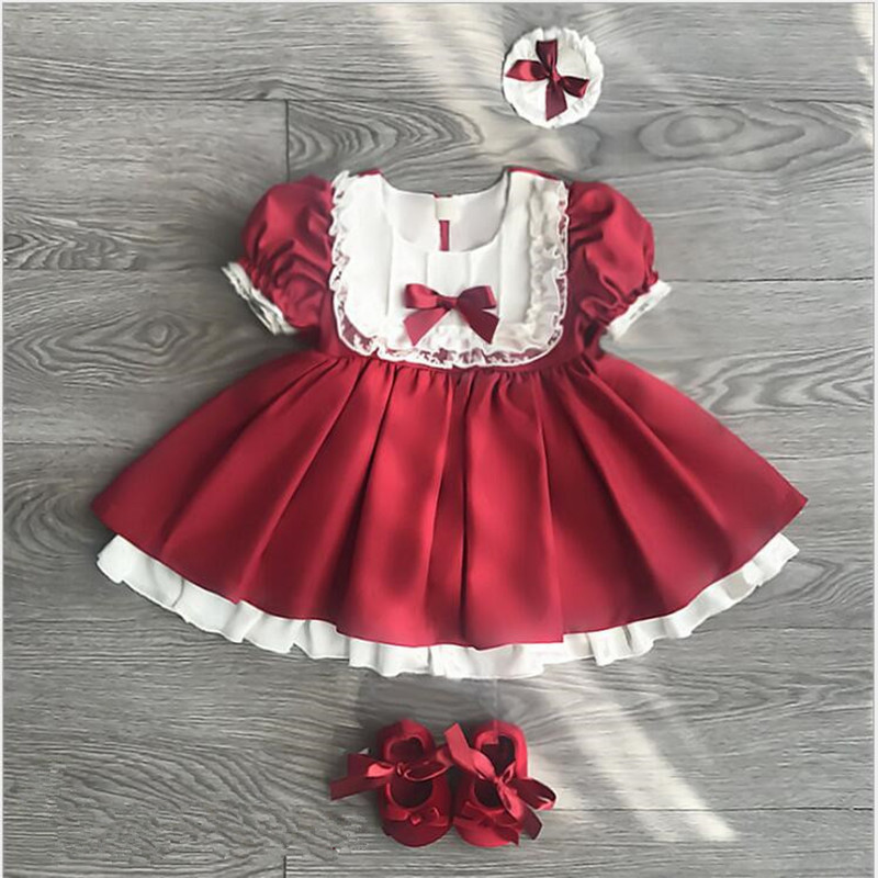 Summer Baby Girls Dress Kids Girls Lace TUTU Red Party Dresses Toddler Girls Clothings Red Christmas Costume 12M -6y fashion baby girls dress kids christmas party red paillette tutu dresses xmas gift sleeveless princess costume girls dress 10