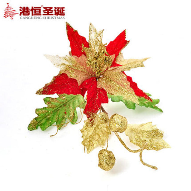 gold red christmas flowers decoration pvc christmas tree decorations ornament shining plastic decoration flowers for party