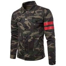 Casacos de brim casuais masculinos inverno outono letras decoração outwear algodão pano camo cor casaco topos masculino tamanho grande 3xl