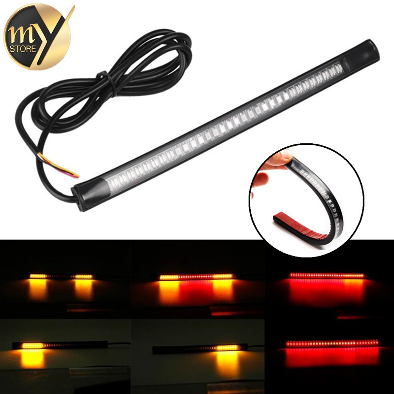 Motorcycle Light 48 LED Flexible Strip For Tail Brake Bulbs Stop Turn Signal Lights License Plate Lamp Red And Yellow 8inch