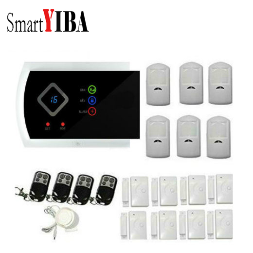 SmartYIBA APP Control Home Door Sensor Infrared PIR Motion For GSM Wireless Alarmes Voice Prompt Wired Siren Kit SIM SMS Alarm