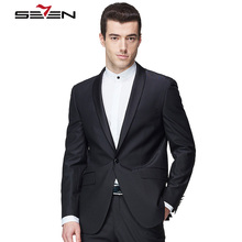 Seven7 Brand Men Black Suits Top Custom Made Casual Blazer Fashion Single Button Sold Color High Quality Handmade Simple Suits