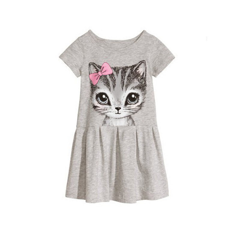 B&N Hot Sale Summer Cute Girl dresses Cat Print Fashion Baby Girl Dress Grey Pink Cotton Children Clothing2