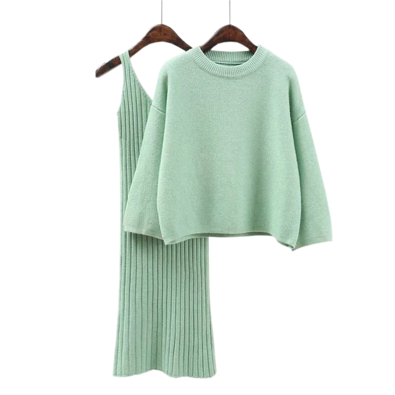 Autumn Winter Sweater For Women Knitted Sweaters And Dress 2Pcs Casual Loose Long Sleeve Pullover Sweater Fashion Female Jumpers