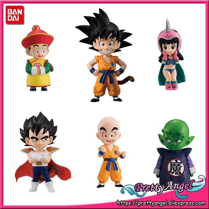 Genuine Bandai Tamashii Nations ADVERGE EX 01 Dragon Ball Full Set 6 Pcs Goku Gohan Vegeta Piccolo ChiChi Krillin Action Figure цена и фото