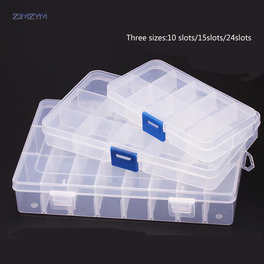 1PC New 24 Slots Cells Portable Jewelry Tool Box Container Ring Electronic Parts Screw Beads Component Storage Box