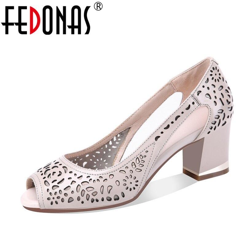 FEDONAS Women Sandals Gladiator High Heels Strap Pumps Female Spring Summer Genuine Leather Shoes Fashion Ladies Peep Toe Pumps