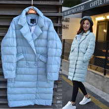 2016 new fashion autumn and winter ladies suit collar with button longe loose solid duck jacket outwear