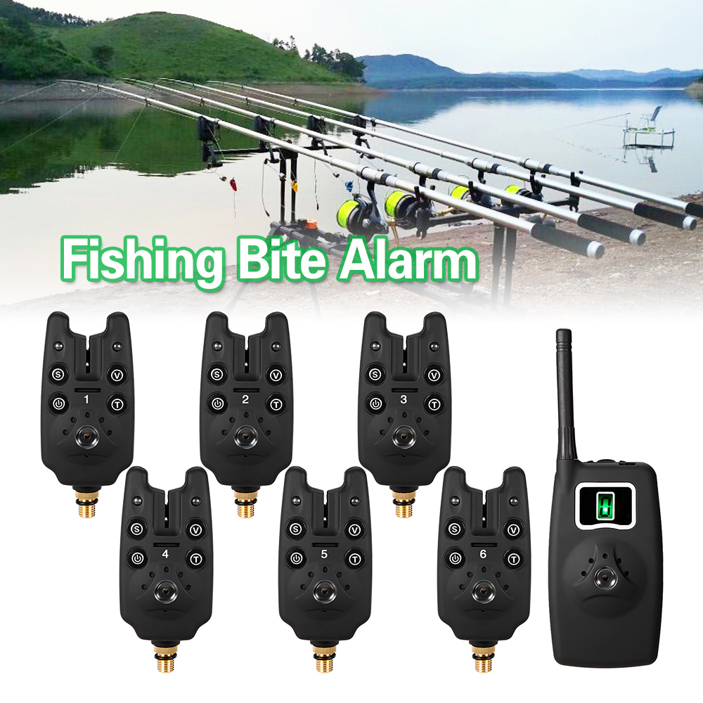 Lixada Digital Fishing Alarm Kit Wireless Carp Fishing Bite Alarms Set LED Alarm Indicator Alert Bell Receiver Fishing Tackle