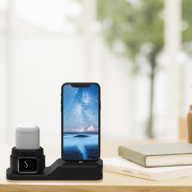 3 In 1 Charging Dock Holder Apple Watchairpods Silicone Stand Station Iphonexiphone8piphone7plusiphone65se