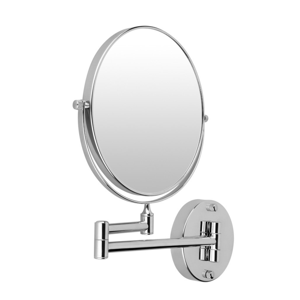 HTHL-Chrome Round Extending 8 inches cosmetic wall mounted make up mirror shaving bathroom mirror 3x Magnification silver extending 8 inches cosmetic wall mounted make up mirror shaving bathroom mirror 7x magnification