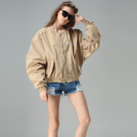 2016 Casual Fashion Letter Coffee Khaki Spring Coats Spring Women Bomber Jacket Autumn Outwear Coat