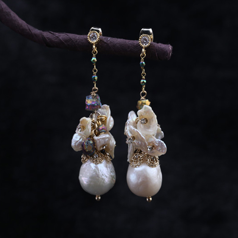 Designer hand woven natural baroque style fashion female earrings