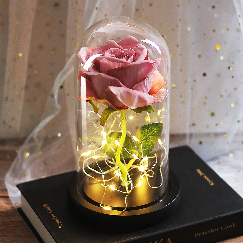 LED Eternal Flower Immortal Flora Light Up Dome Beauty and The Beast Rose In A Flask Valentine's Day Birthday Christmas Day Gift - Цвет: 088