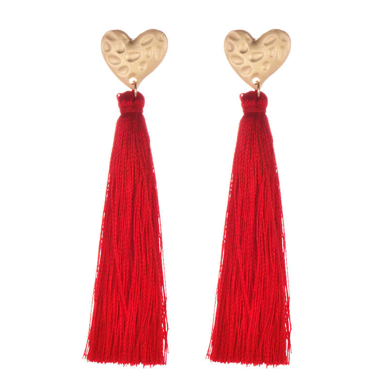 Heart Long Tassel Earrings Fashion Vintage Ethnic Bohemia Big Black Red Silk Handmade Gold Dangles Earring For Women Jewelry
