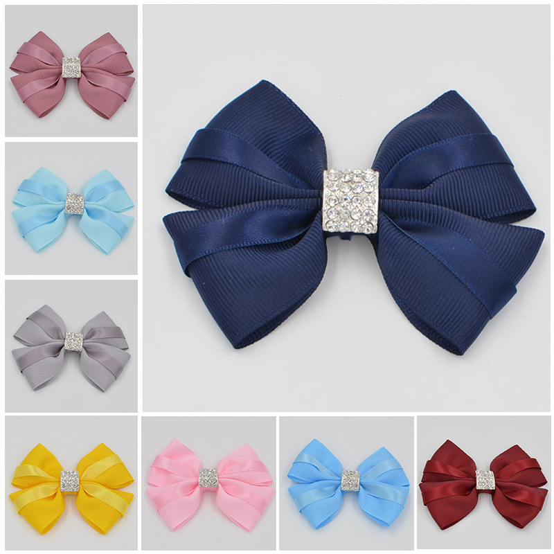 12 color High Quality  Ribbon crystal Boutique girl women Hair Bows With Clip Hairpins For Kids Girl Hair Accessories Barrettes new hair claw for women girl elegant high quality hair clip party decorations holiday gift accessories