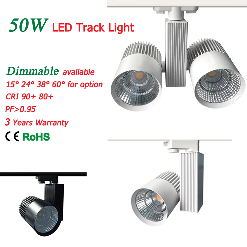 LED Track Light COB 50W with Cree Chips Europe 4wire Ceiling track rail lights for Pendant Kitchen Clothing Store 110lm/W dhl ems free shipping 12pcs lot 20w cree cob led track light for shops gallary lighting