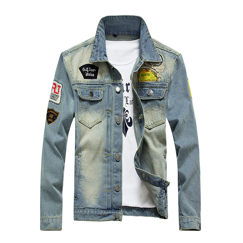 2017 5XL Plus autumn winter fashion denim jacket men jeans slim fit mens jackets and coats casual bomber jacket mens coat denim