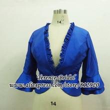 Изготовление размеров под заказ Королевская Синяя тафта куртки-болеро для вечерние платья с рукавами