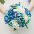 2016 Beach Style White Blue Rose Wedding Bouquet Cheap Wedding Bouquet De Noiva Artificia Wedding Bridal Holding Flowers