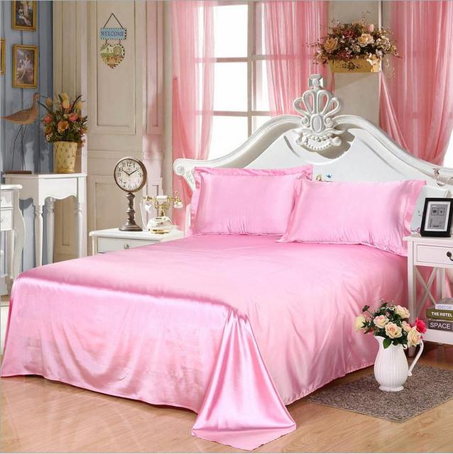 Wholesale!100%Soft skin SATIN SILK sheet bedding set bedclothes plain sheets home textile,sabanas flat sheet+pillowcases