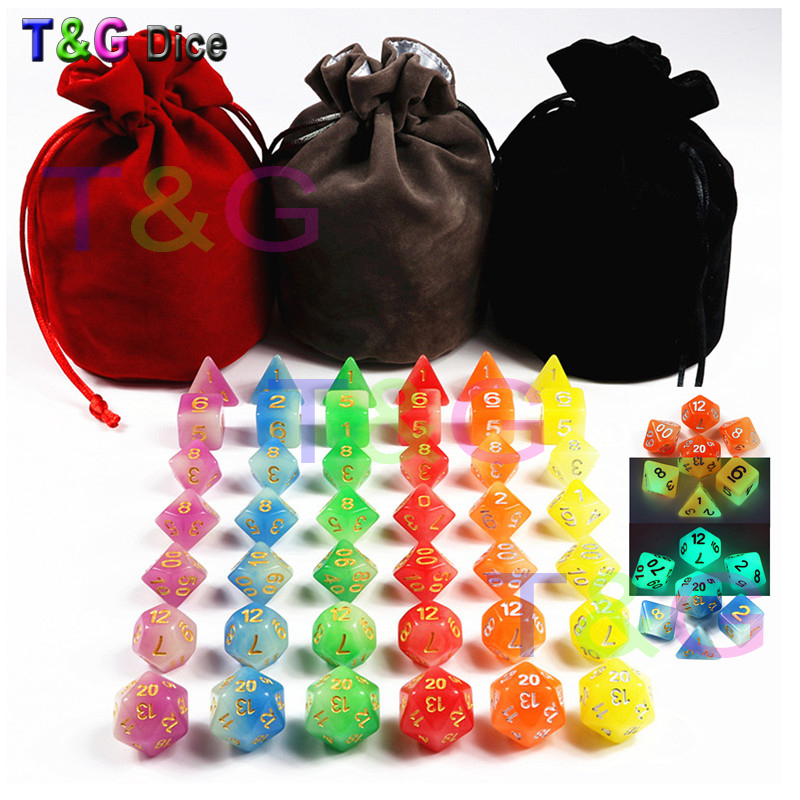 New Arrived 42pc/lot High Quality Mix-Colour Glow In The Dark,Dice for Dungeons & Dragons D4,6,8,10,10%,12,20 Set RPG Board Game