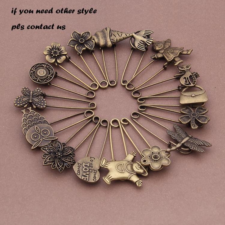 Free shipping 2pcs bronze vintage brooch diy jewelry accessories