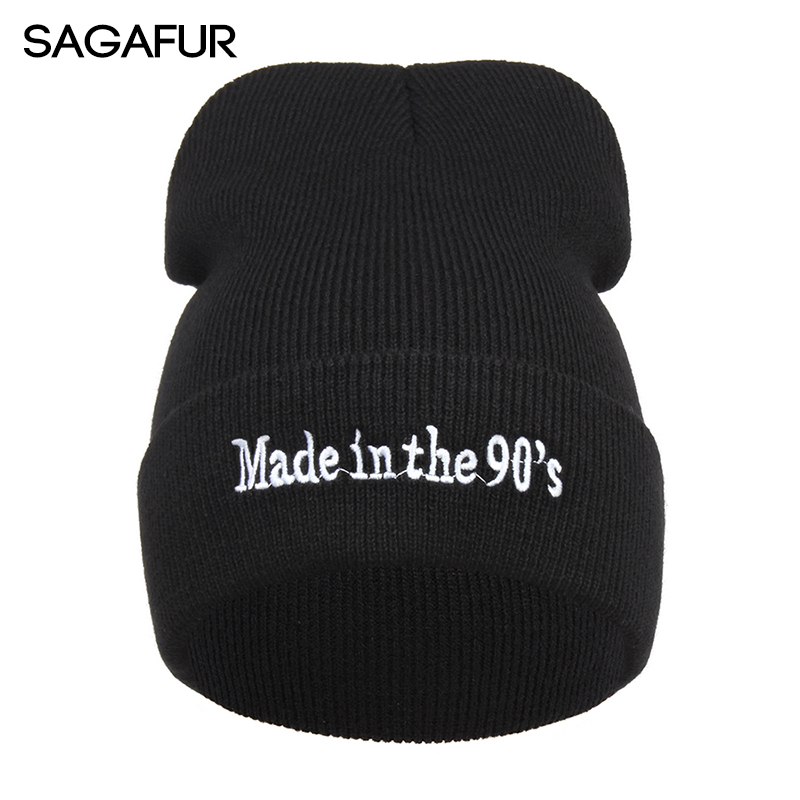 Solid Black Cap Women's Unisex Outdoor Hip Hop   Skullies     Beanies   For Girl Winter Made In The 90's Embroidery Letters Knitted Hat