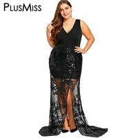 PlusMiss Plus Größe 5XL Pailletten Elegante Abendgesellschaft Sexy Maxi langes Kleid Frauen Sleeveless V-ausschnitt Sheer Bodenlangen kleid