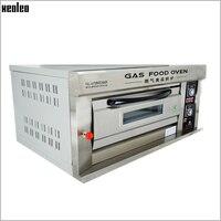 Xeoleo Commercial Gas Oven Single Layer Double Pans 300 Degree Horizontal LPG Baking Oven Baker Oven