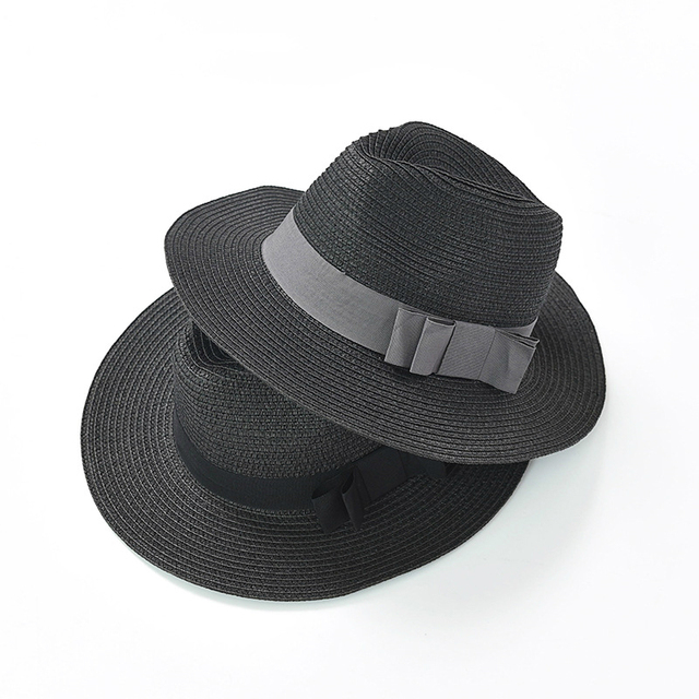 1b5238c02 US $13.49 10% OFF|Aliexpress.com : Buy New ladies black bow jazz straw hat  Summer sun protection sunscreen panama hat from Reliable Women's Sun Hats  ...