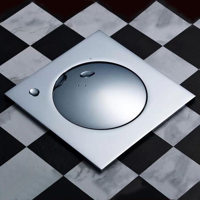 Shower Drain 10cm*10cm Push Down Pop-Up Drain Strainer Chrome Brass Square Drainer Floor Drain Waste Grate Bath Accessor
