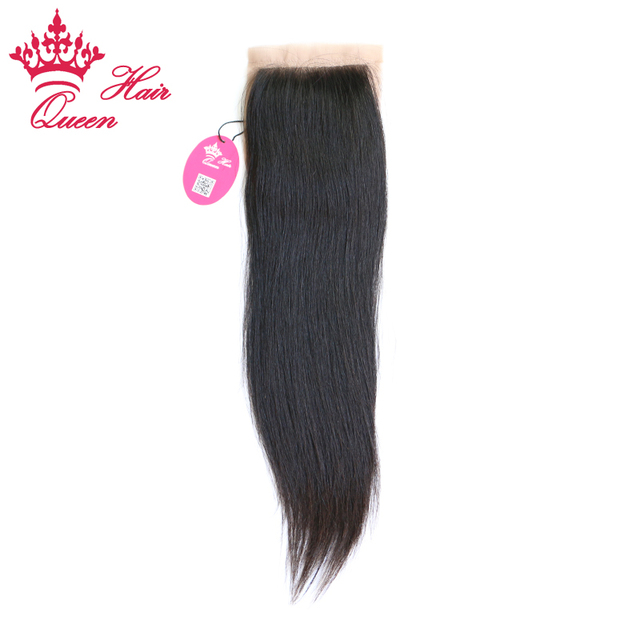 Queen Hair Products Silk Base Closure Brazilian Virgin Hair Human Straight 4X3.5 Swiss Lace Free Part Style Fast Free Shipping