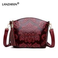 LANZHIXIN National Flowers Tassel Crossbody Bags Designer Fashion Chinese Style Shoulder Messenger Bags for Women Girls Bag