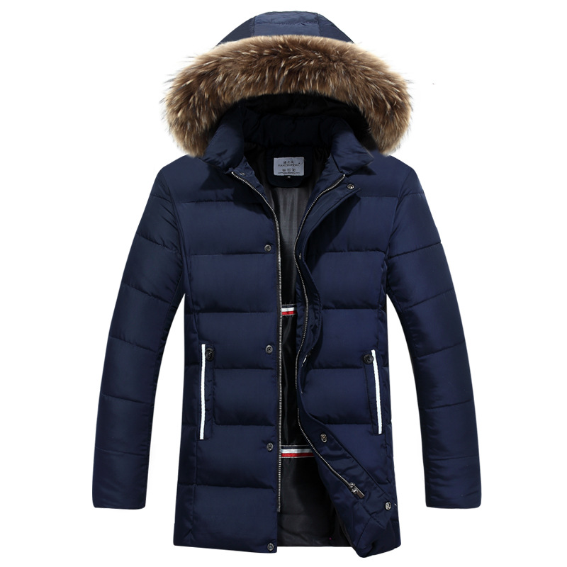 New winter jacket Men Solid Long Down cotton Fur collar Jacket Fashion zipper Wadded Thicken Design warm fur Hooded coat Parkas