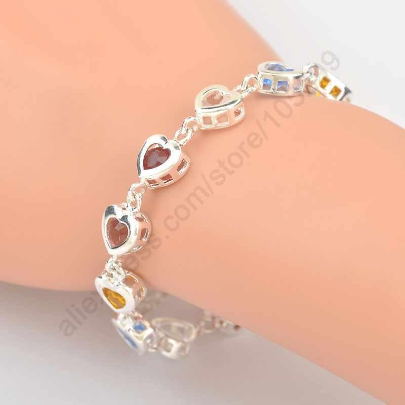 Cadeau de saint valentin brillant multicolore Zircon cristal en forme de coeur 925 en argent Sterling femme fille Bracelet bijoux