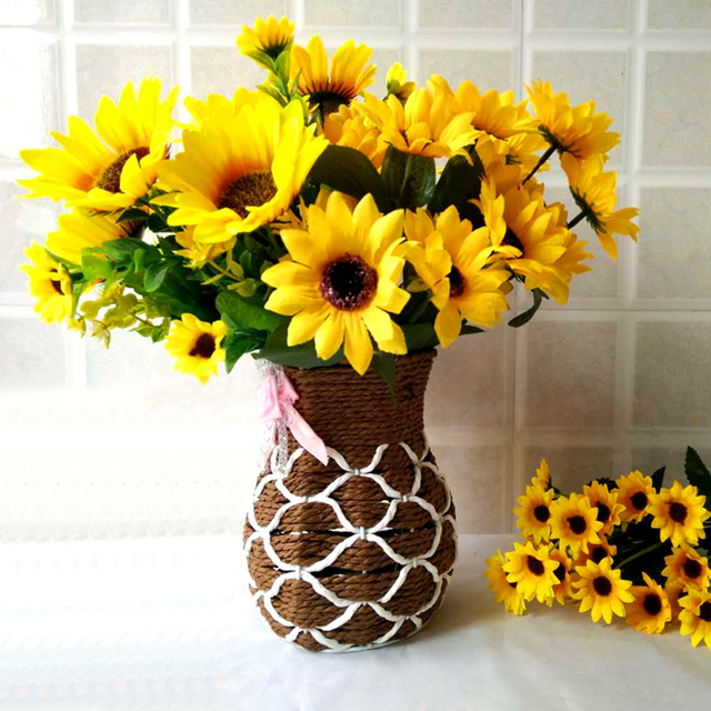 Sweet Artificial Sunflowers 1 Bunch 7/15 Heads Sunflower Decorations ...
