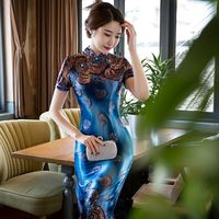 New Arrival Women S Velour Long Cheongsam Fashion Chinese Style Dress Elegant Qipao Vestido Size S