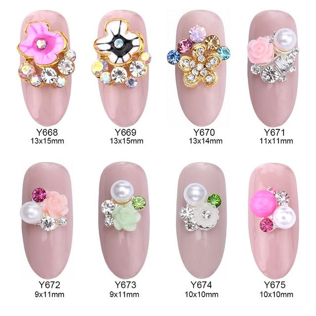 10pcs Glitter nail strass rhinestone pink white flower 3d nail art ...
