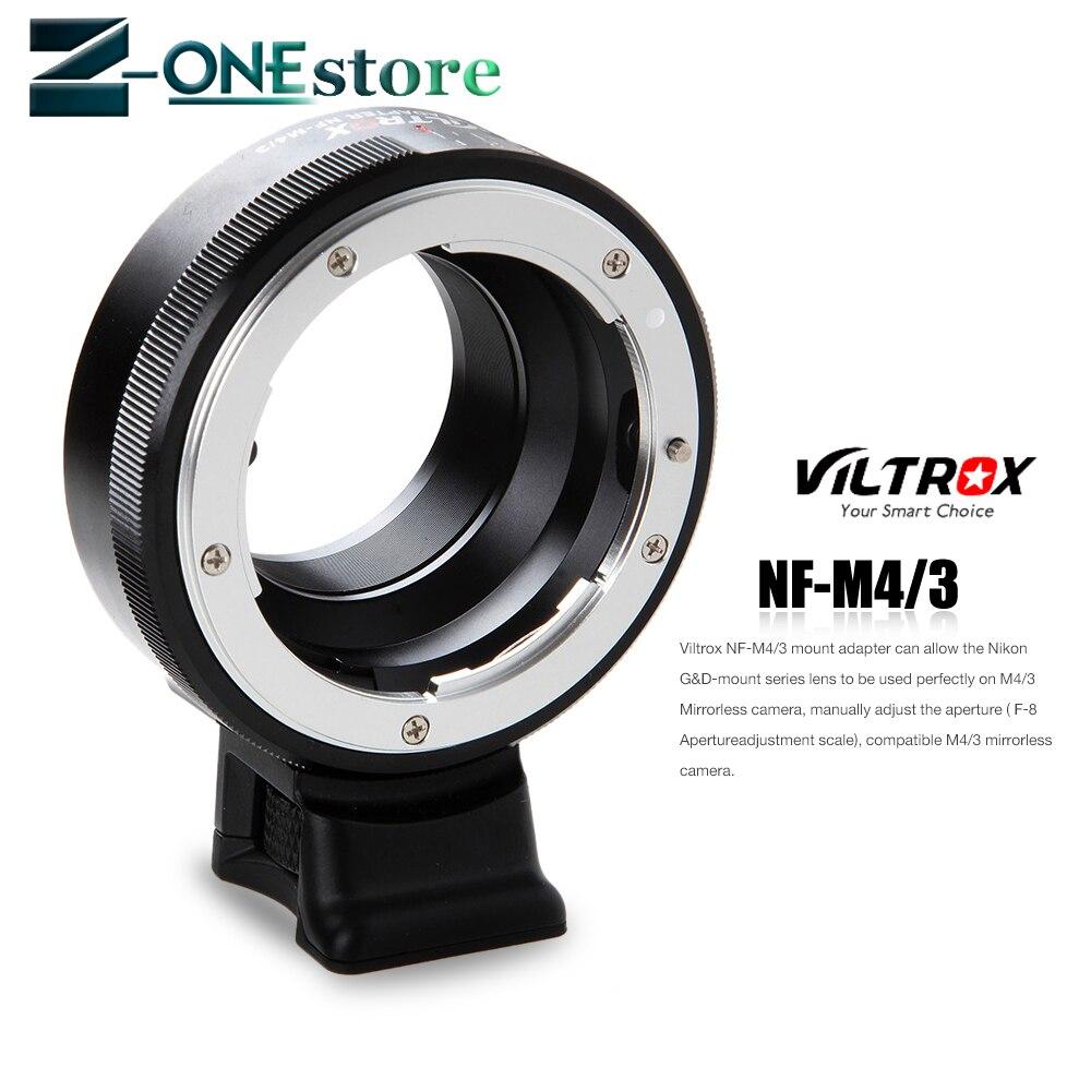 Viltrox NF-M4/3 adaptateur de montage d'objectif à mise au point manuelle avec cadran d'ouverture pour objectif Nikon vers appareil photo M4/3 GH5 GH4 GF6 GX85 GX7 G6 E-M5 E-M10