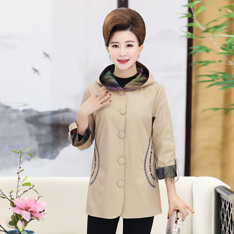 Coat Red khaki Size Red Hooded Red Middle Cotton Coats Okxgnz1766 Women dark Spring Casual Female Fashion aged Plus Jacket Outerwear Top Jackets FqUS8qn1