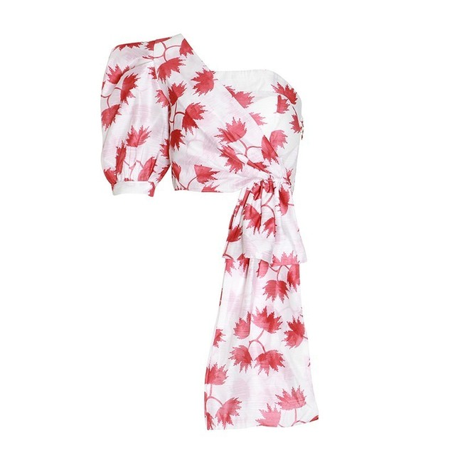 TWOTWINSTYLE Casual Print Shirt For Women Puff Sleeve Off Shoulder
