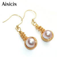 Customize Not Allergic Gold Filled Hook Dangle Earrings Natural Champagne Freshwater Pearl Handwork Luxury Women Jewelry