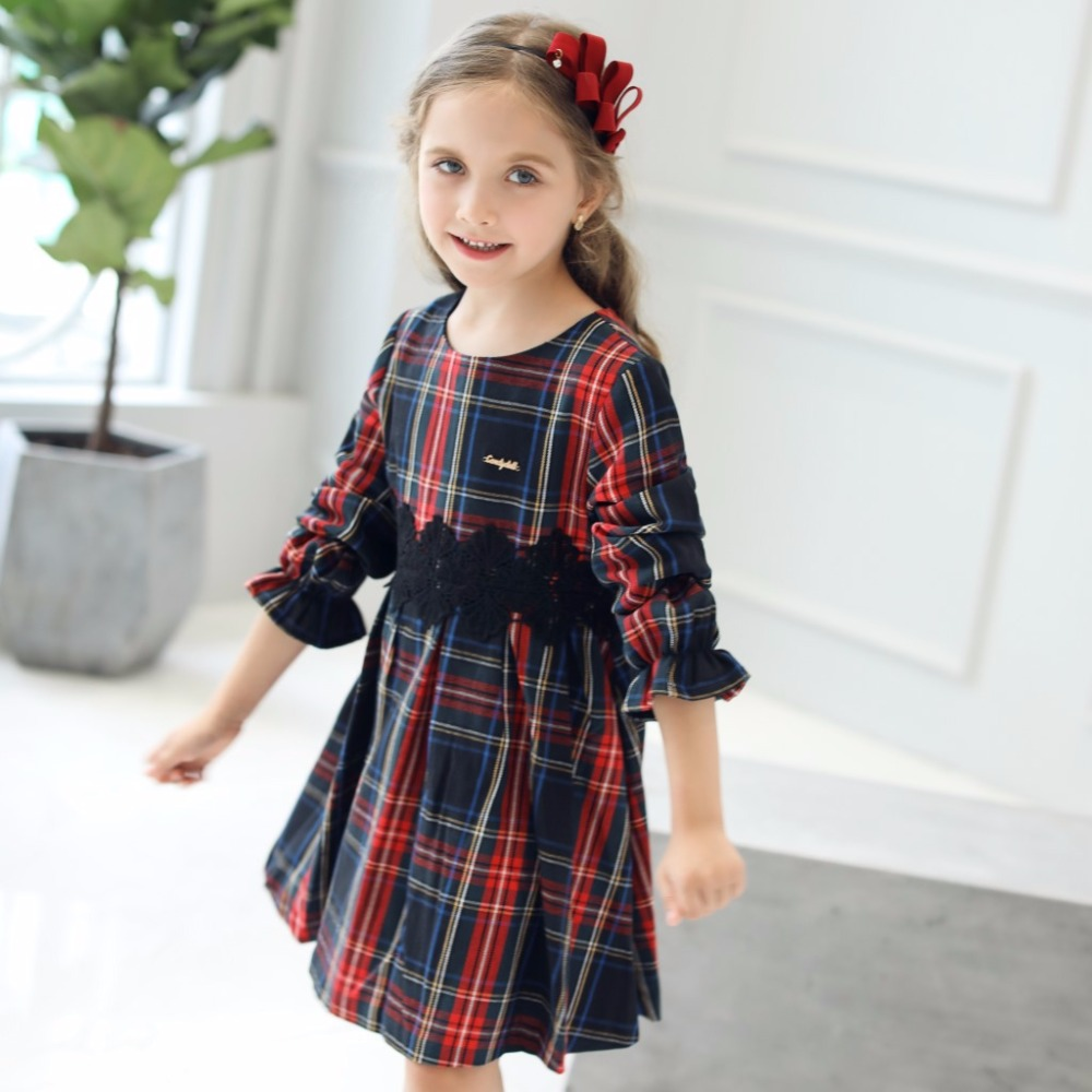 8157652fffc CANDYDOLL Autumn New Kids Plaid Dress With Black Lace Girl Dresses Lotus  Leaf Long Sleeve Girls Dresses 3 4 5 6 7 8 9 10 Years-in Dresses from  Mother   Kids ...