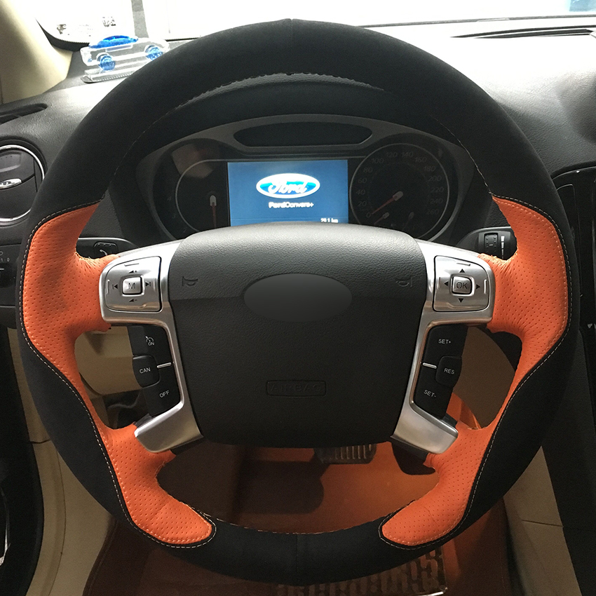 Black Suede Orange Leather Car Steering Wheel Cover for Ford Mondeo Mk4 2007 2012 S Max