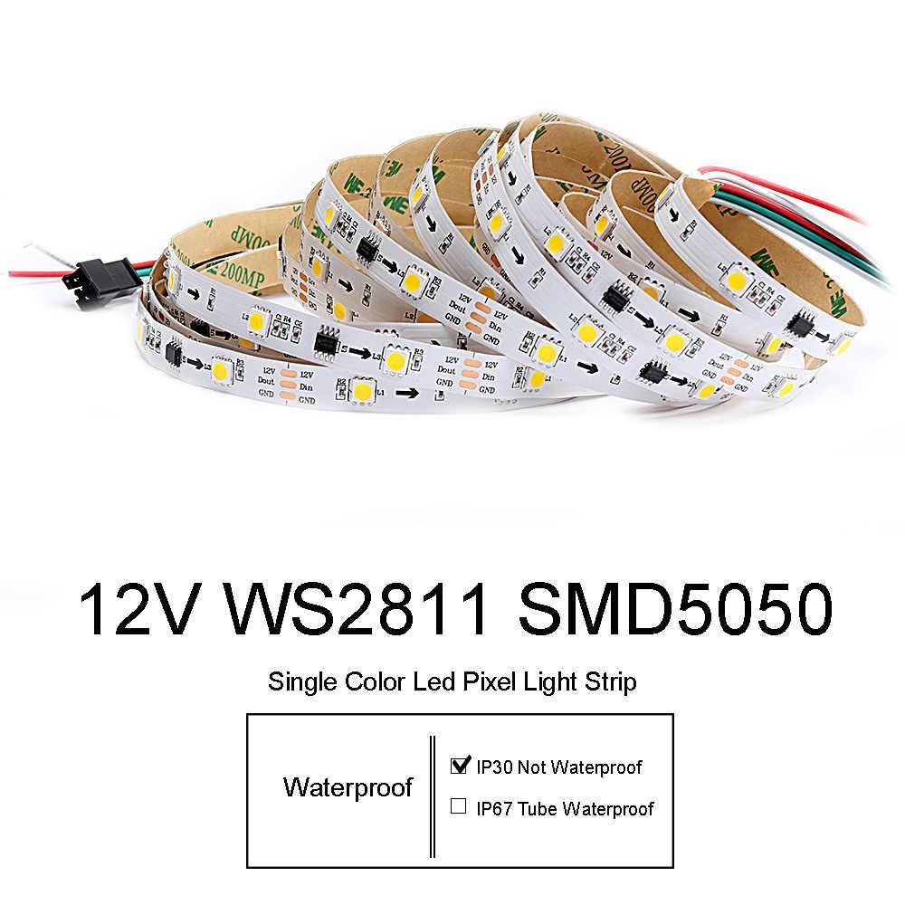 WS2811 Led ストリップ SMD5050 ライトストリップ IP30 DC12V 5 メートル 30 60 led 緑青黄アドレス可能個別にロング寿命 JQ
