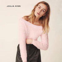 Women Sexy Off the Shoulder Fuzzy Cropped Sweater Pullovers