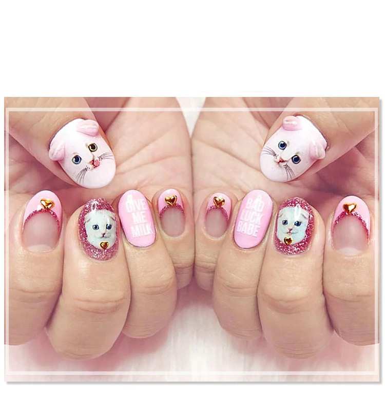 1 Sheet Pink Cat 3D Nail Art Transfer Stickers Cute Cat Japanese ...