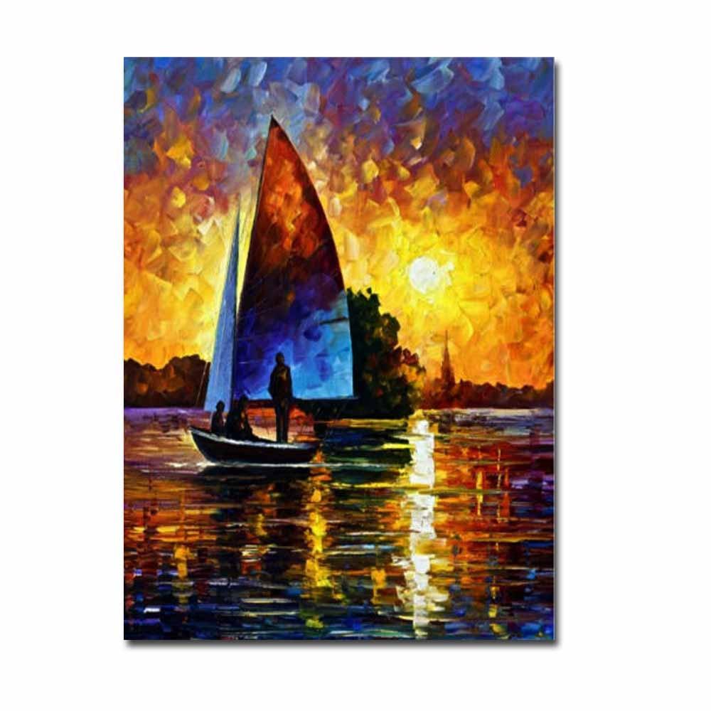 Goede Kopen Handgeschilderde Absract Art Paletmes Olie Canvas Schilderij Zonsondergang Zeilboot Landschap Muur Foto Woonkamer Thuis Decor Goedkoop Tq1ekoop